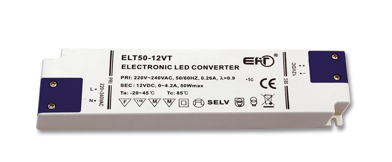 Trafo pro LED pásky, 230V-12V, 4,2A, 50W, 1,6mm, IP20