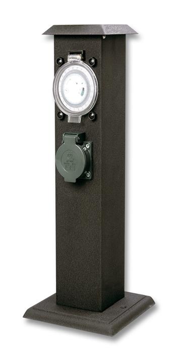 Zahradní sloupek 2x zásuvka s krytem, timer, IP44