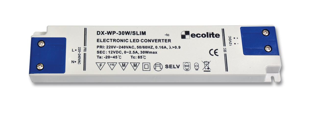 Trafo pro LED pásky 230V-12V, 2.5A, 30W, 1,6mm, IP20