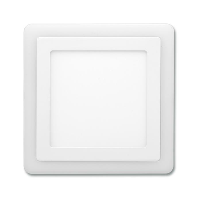 Dvojbarevný LED panel čtvercový do podhledu 19,5x19,5cm, 12W+4W, 4000K+2700K bílý