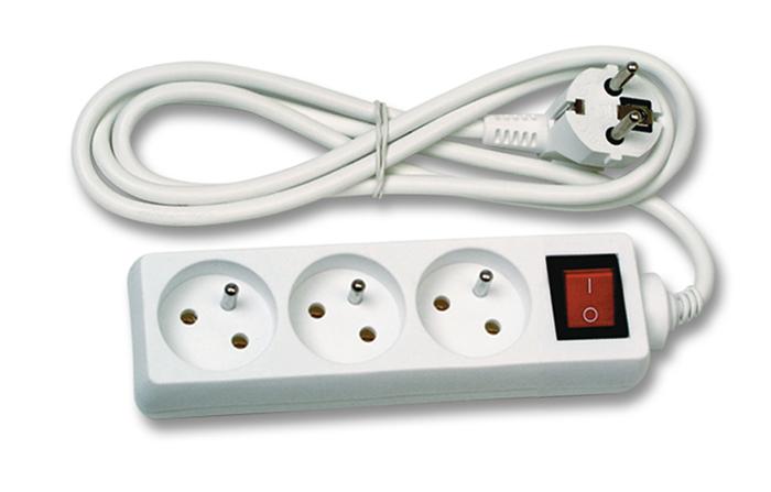 Prodlužovací kabel délky 1,5m 3 zásuvky s vypínačem Ecolite FK3-1.5